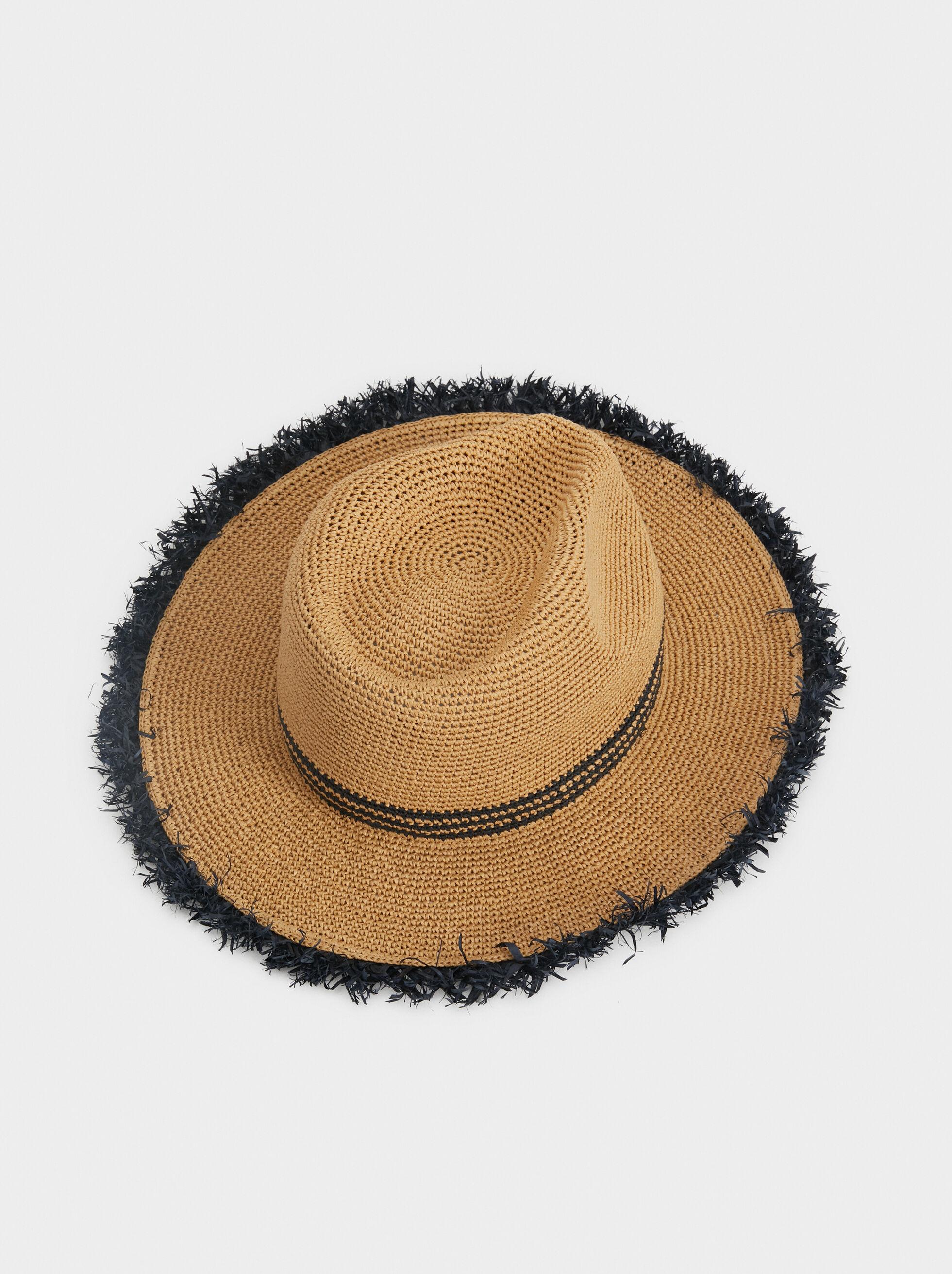 Faux Raffia Hat, Beige, hi-res