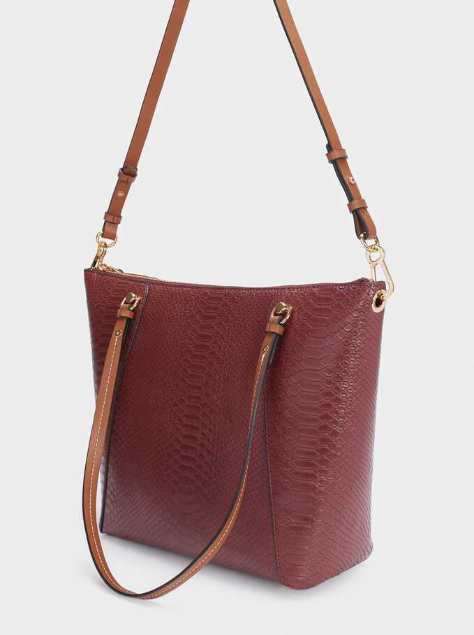 Embossed Animal Print Tote Bag With Removable Interior, Bordeaux, hi-res