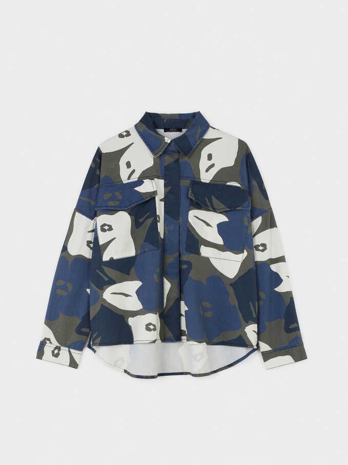 Camisa Estampado Floral, Azul, hi-res