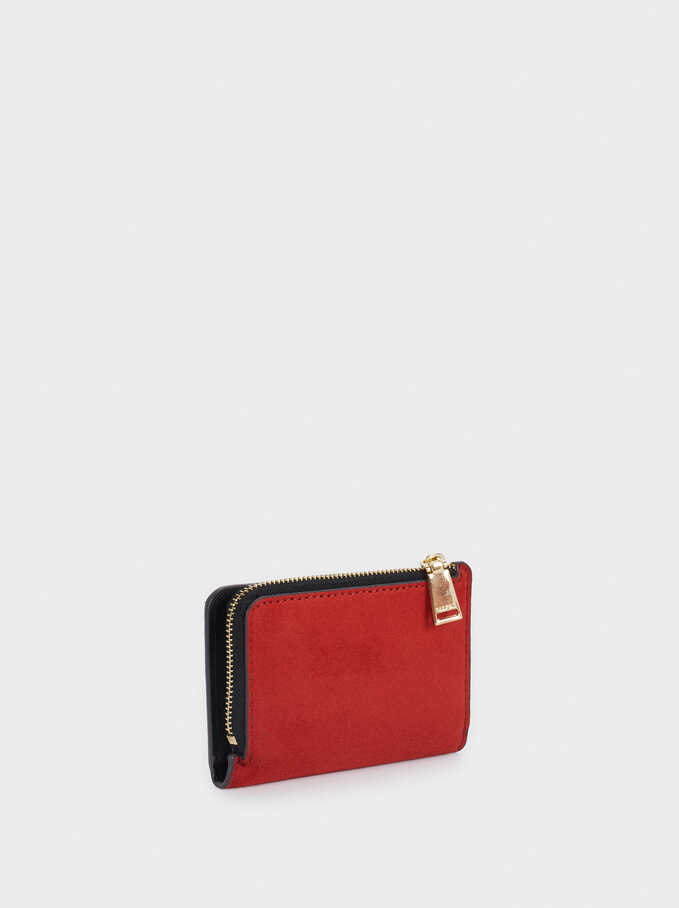 Faux Suede Card Holder, Brick Red, hi-res