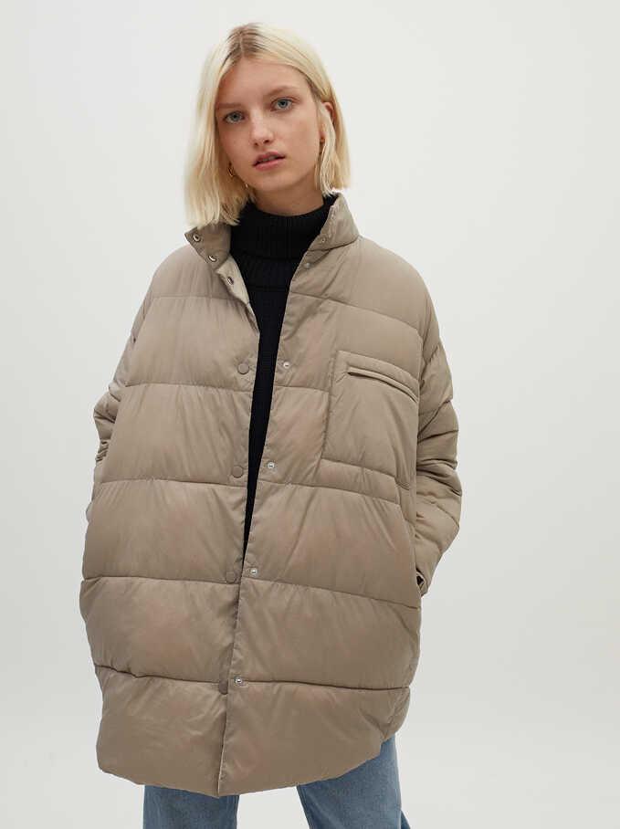 Button-Up Puffer Coat, Beige, hi-res