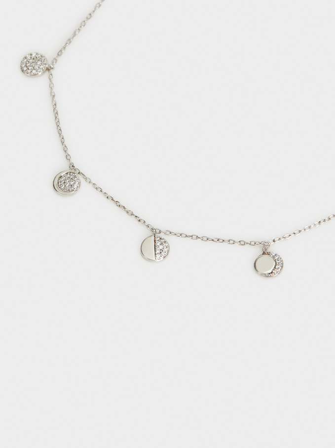 Short 925 Silver Necklace With Moon And Zirconia, Silver, hi-res