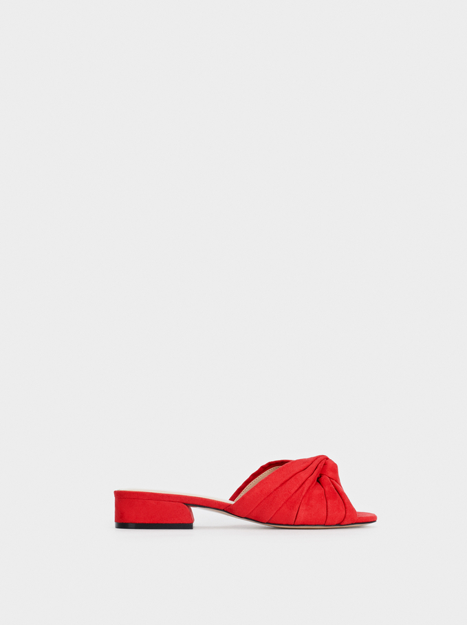 Knotted Faux Suede Mules, Red, hi-res