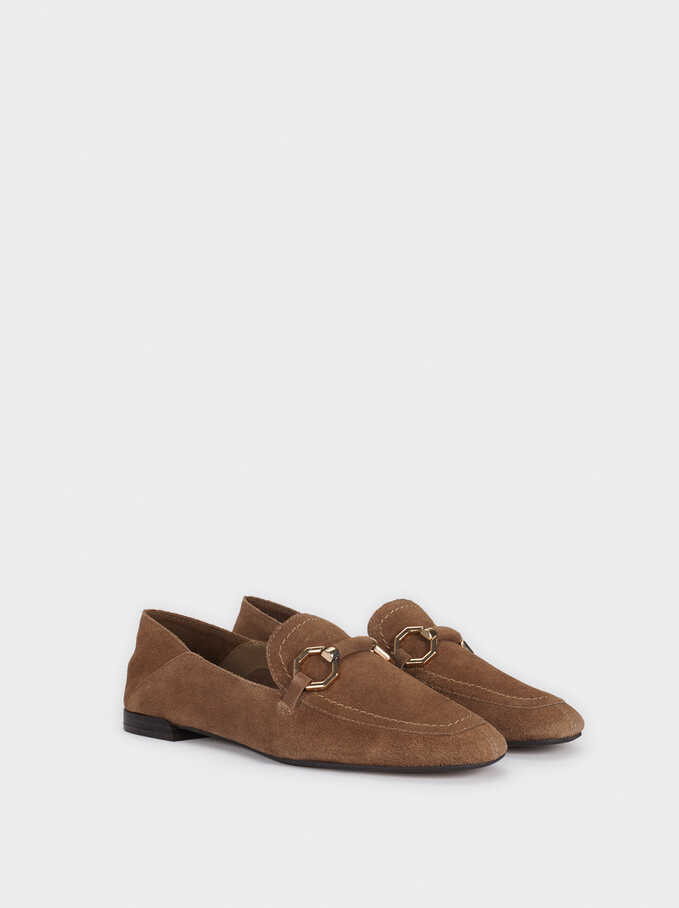 Suede Moccasins With Metallic Detail, Brown, hi-res