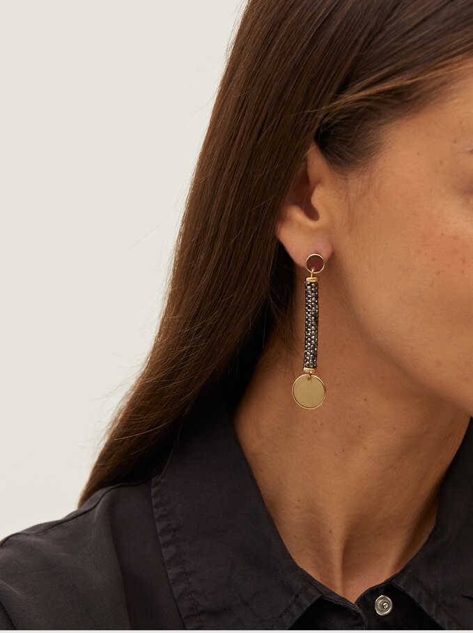 Long Earrings With Multicoloured Crystals, Multicolor, hi-res