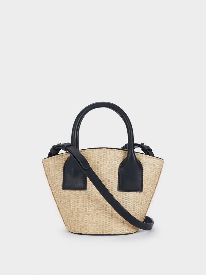 Raffia Textured Crossbody Bucket Bag, Ecru, hi-res