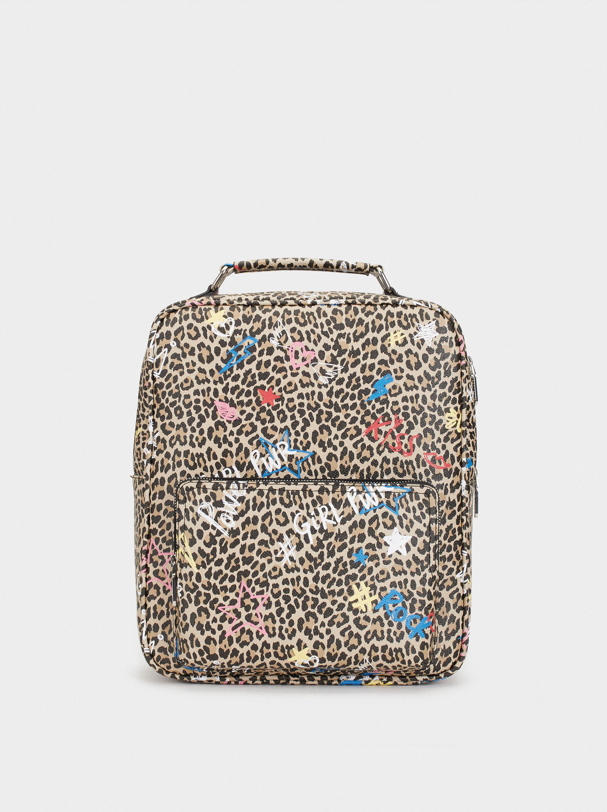 Printed Backpack, Black, hi-res