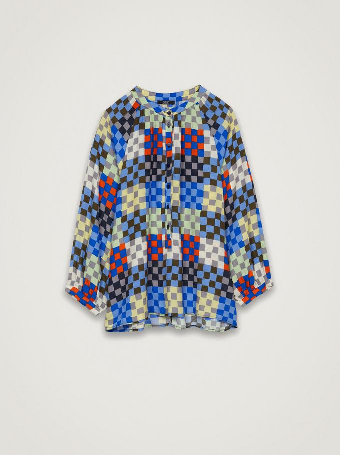 Check Print Loose-Fitting Shirt, Multicolor, hi-res
