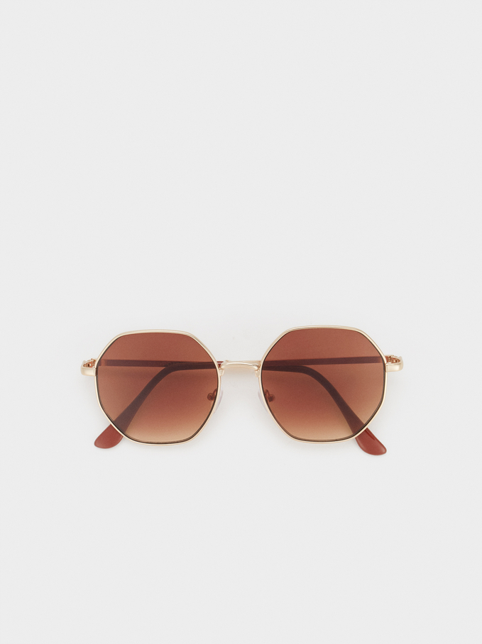 Round Metal Sunglasses, Golden, hi-res
