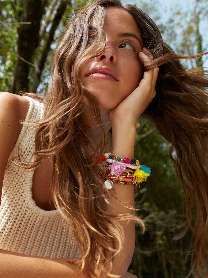 Elastic Bracelet With Multicolor Tassels, Multicolor, hi-res