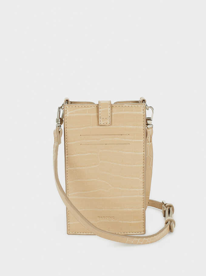 Phone Case With Shoulder Strap, Beige, hi-res