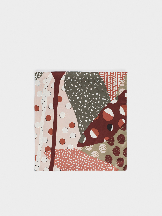 Multicoloured Print Square Handkerchief, Pink, hi-res