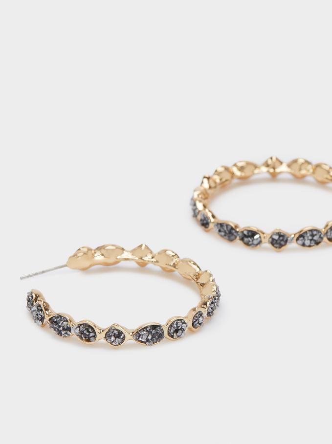 Hoop Earrings With Crystals, Grey, hi-res