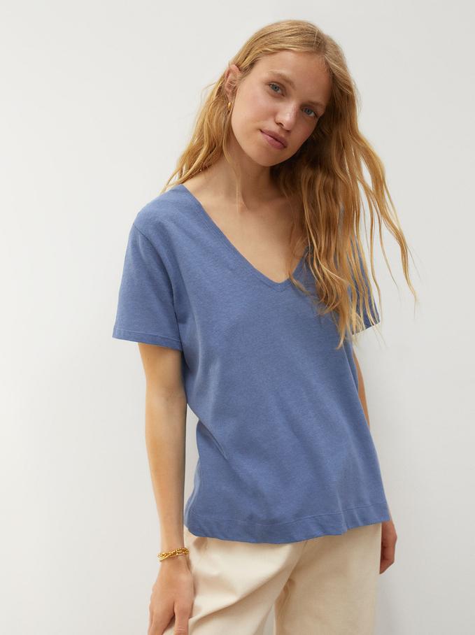 Linen V-Neck T-Shirt, Blue, hi-res