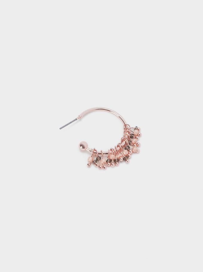 Small Hoop Earrings With Beads, Orange, hi-res