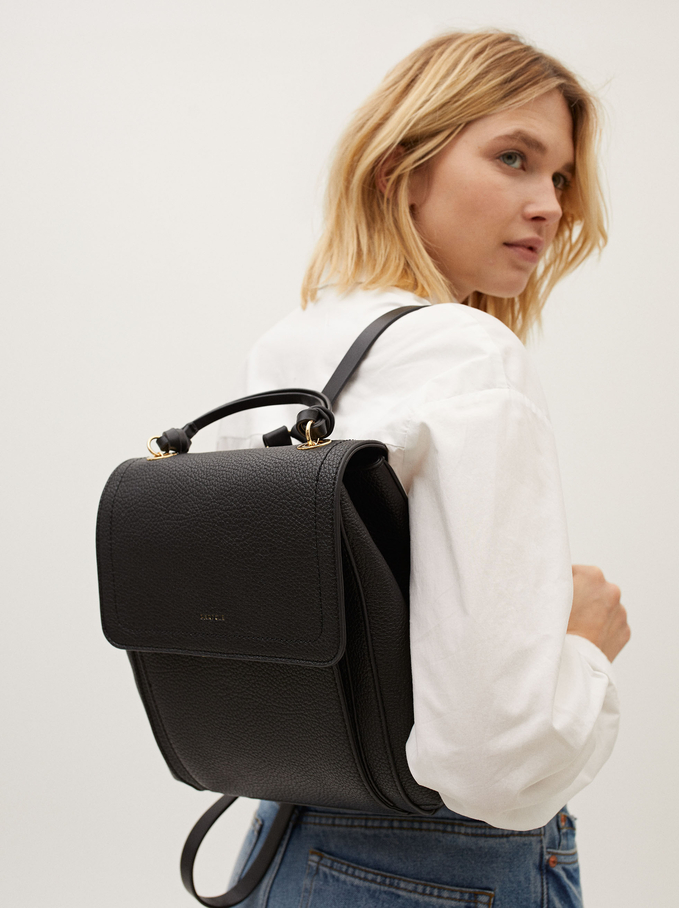 Embossed Backpack With Front Flap Closure, Black, hi-res