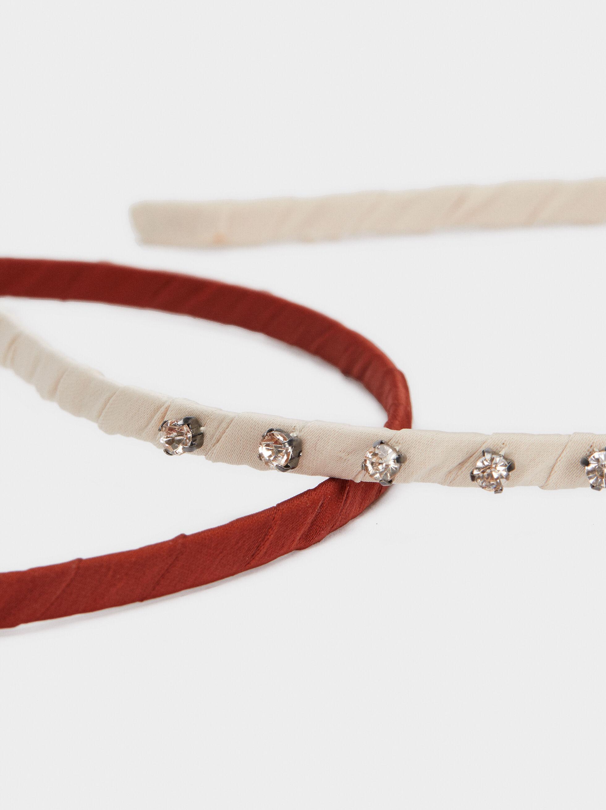 Thin Headband With Beads, Brick Red, hi-res