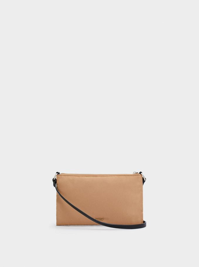 Nylon Shoulder Bag With Double Handle, Camel, hi-res