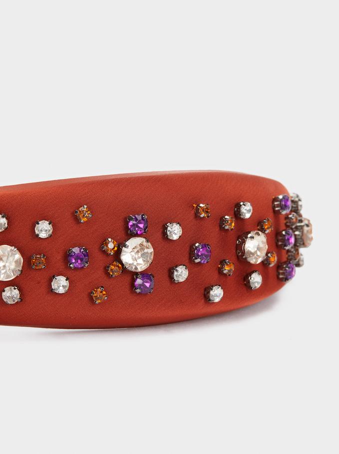 Headband With Contrast Rhinestones, Brick Red, hi-res