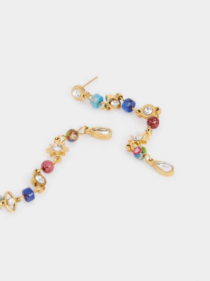 Boucles D'Oreilles Longues En Acier Avec Pierres Et Charms, Multicolore, hi-res