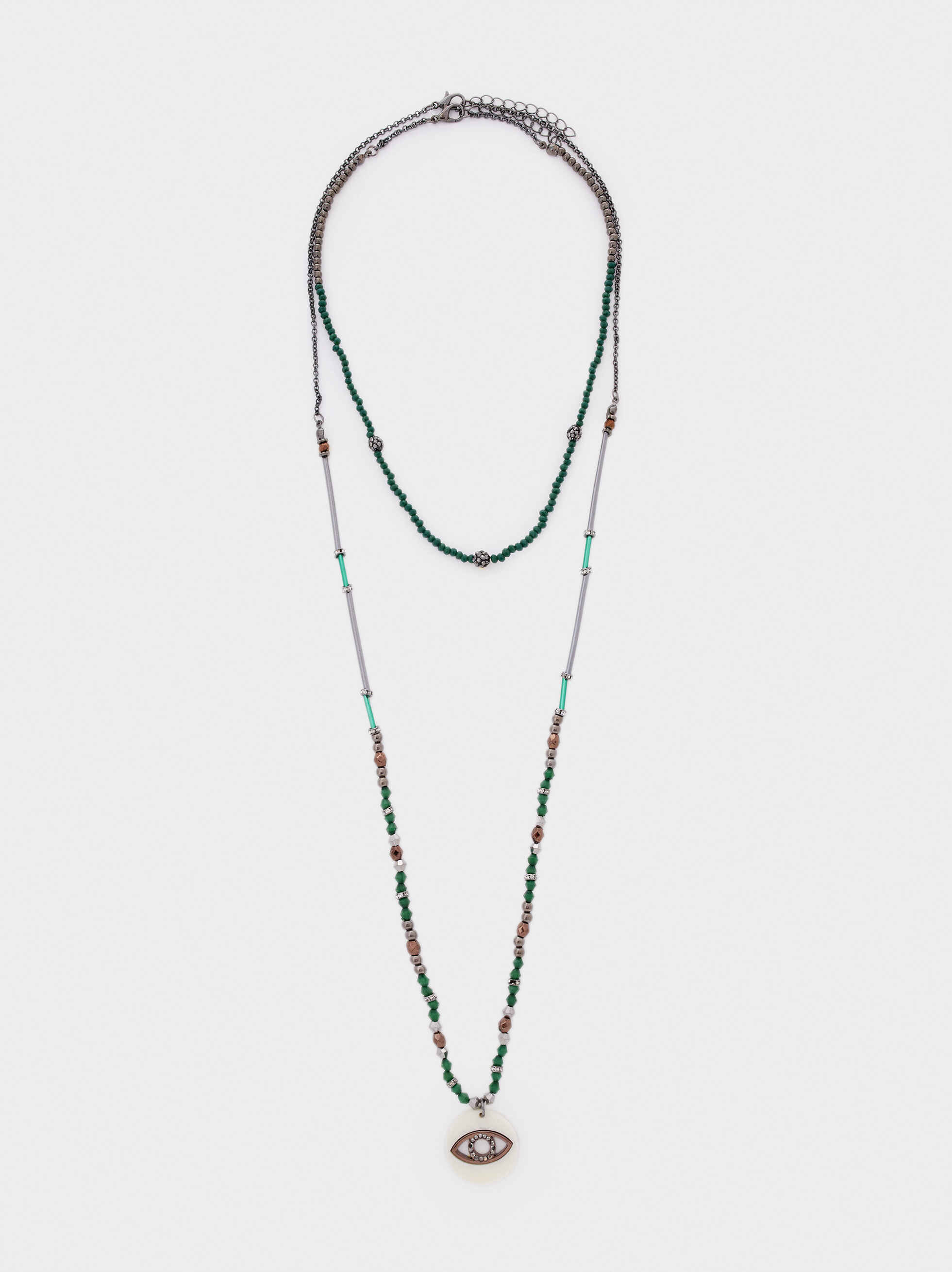 Long Necklace With Eye Charm And Multicolour Crystals, Green, hi-res
