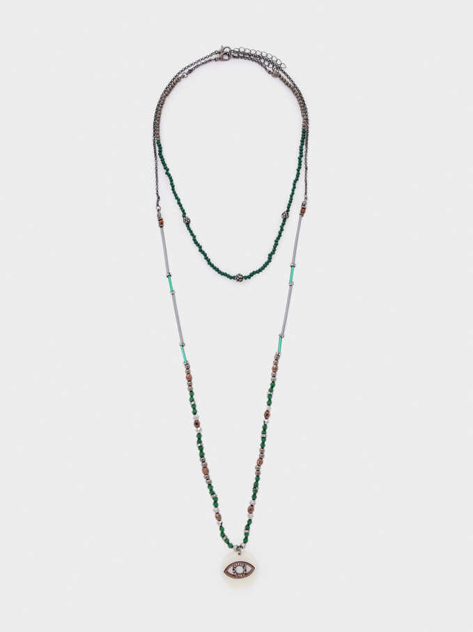 Long Necklace With Eye Charm And Crystals, Green, hi-res