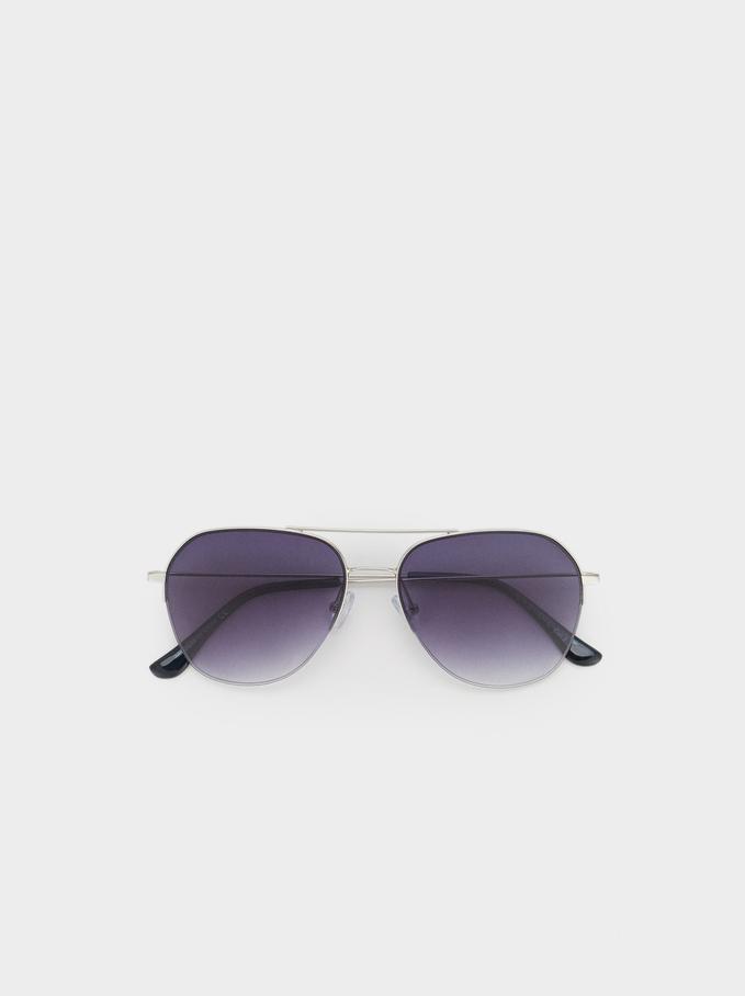 Gafas De Sol Estilo Aviador, Plateado, hi-res