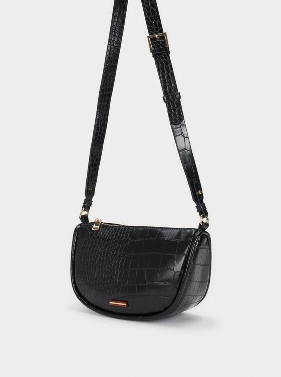 Mock Croc Baguette Bag, Black, hi-res