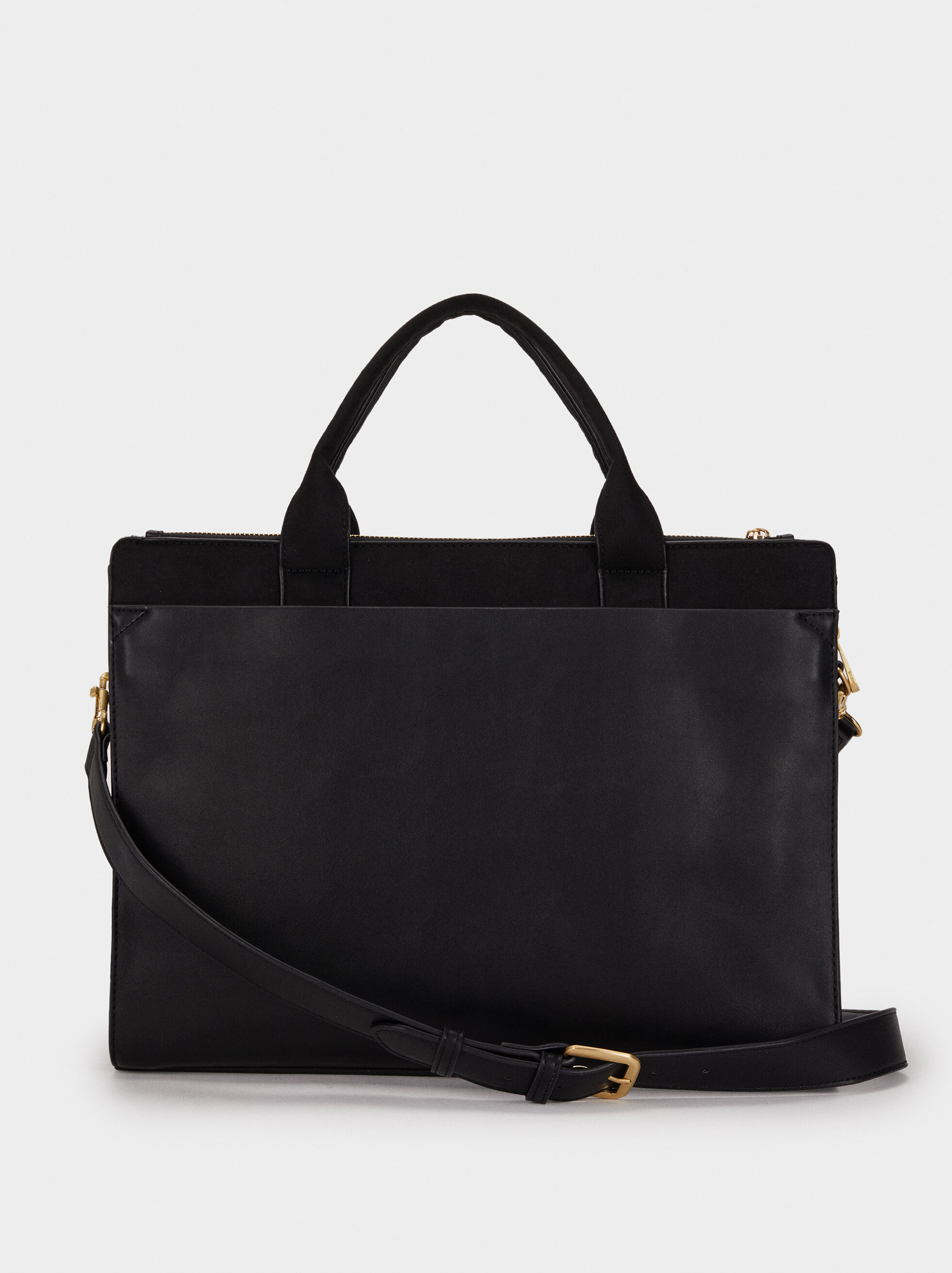 Suede Texture Briefcase, Black, hi-res