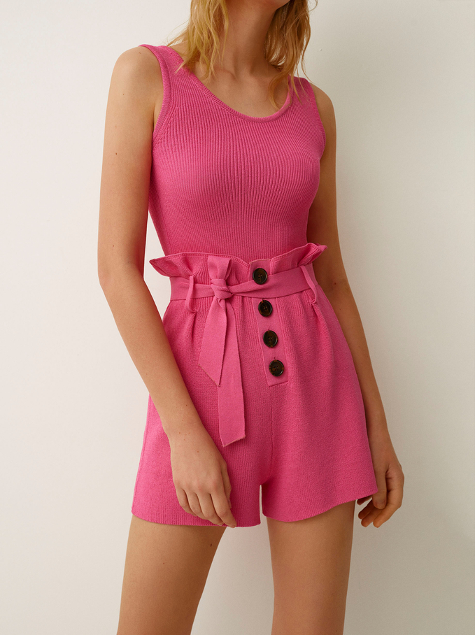 Knit Shorts With Bow And Buttons, Pink, hi-res