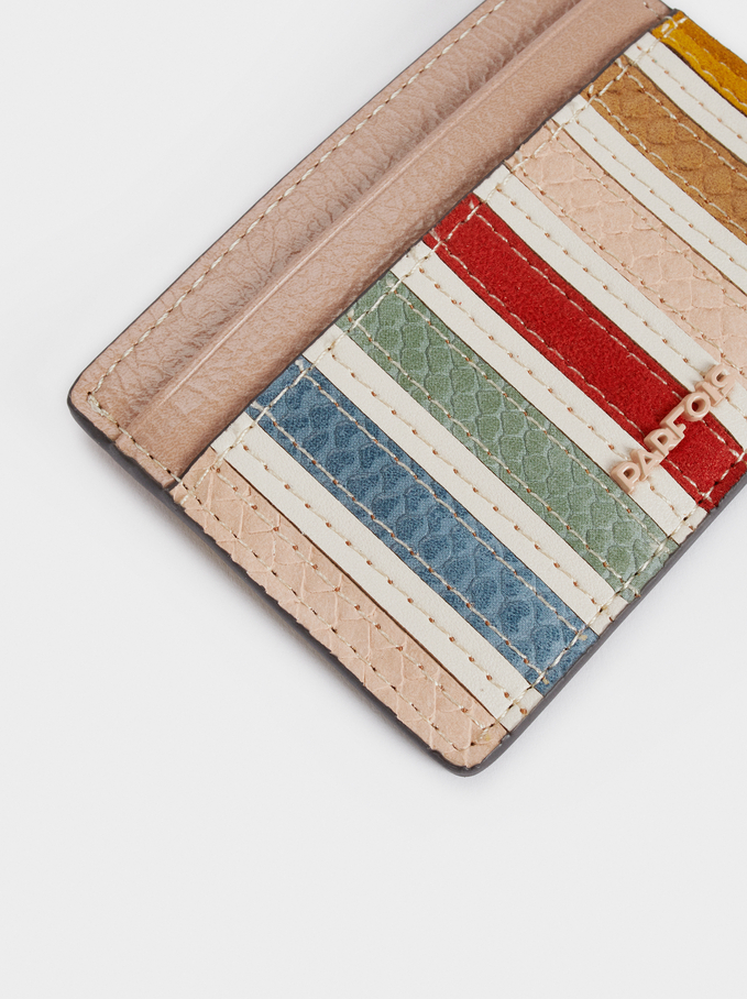 Multicoloured Card Holder, Ecru, hi-res