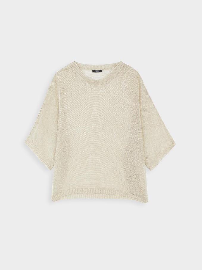 Round-Neck Knit Sweater, Golden, hi-res
