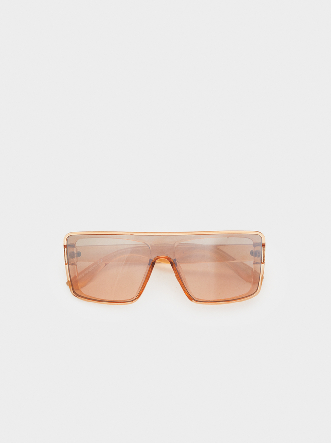 Online Exclusive Square-Cut Sunglasses, Orange, hi-res