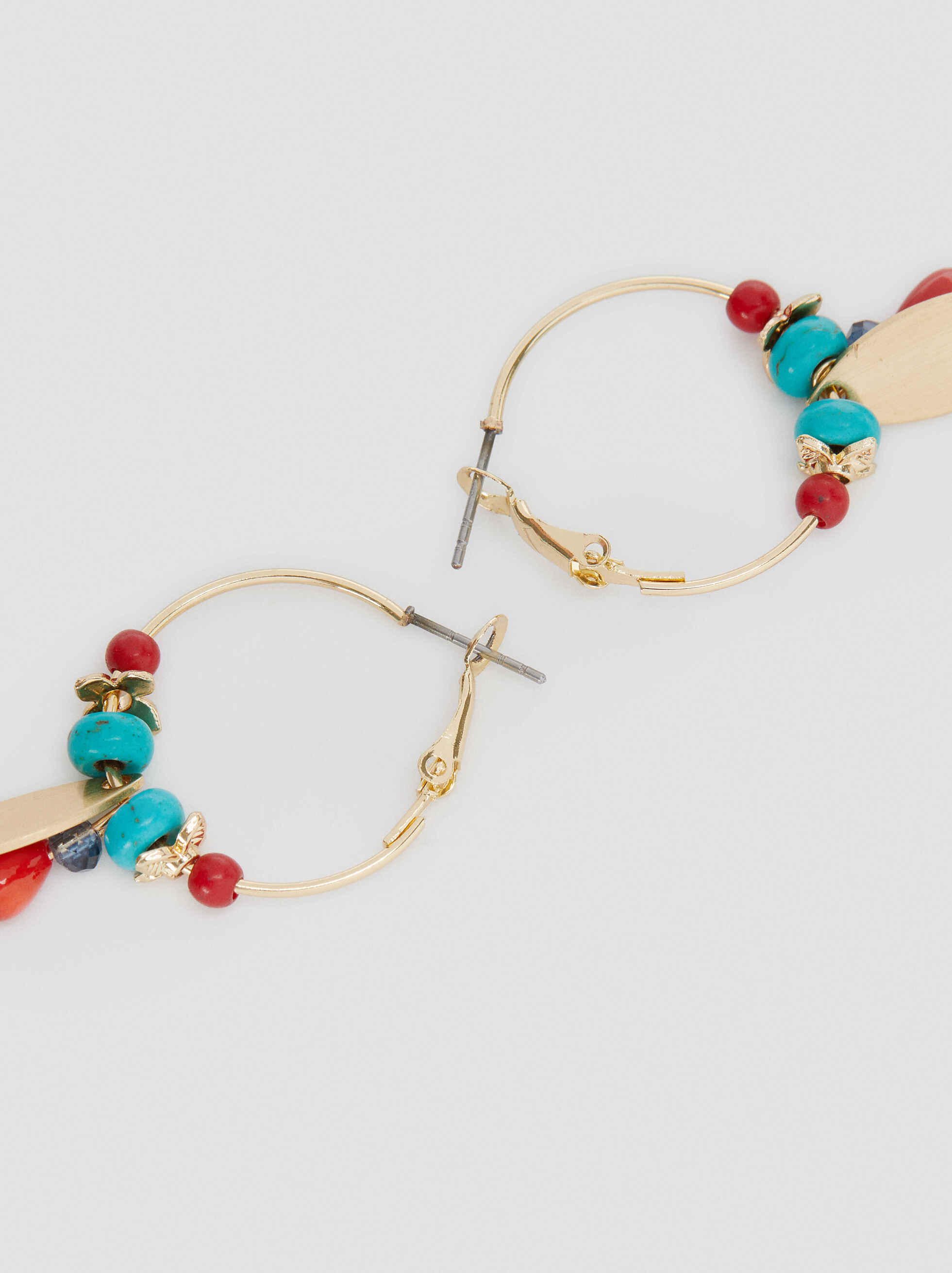 Recife Medium Hoop Earrings With Beads, Multicolor, hi-res