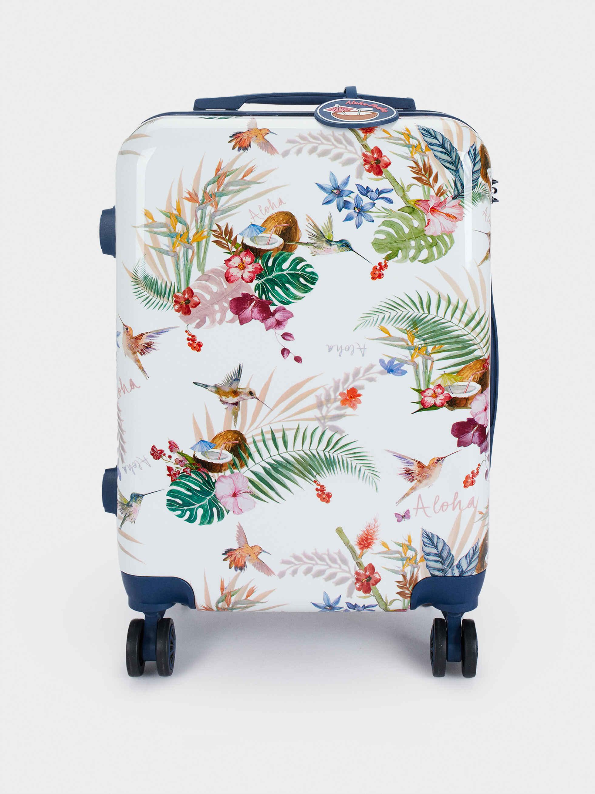 Trolley De Viaje Estampado Floral, Azul Marino, hi-res