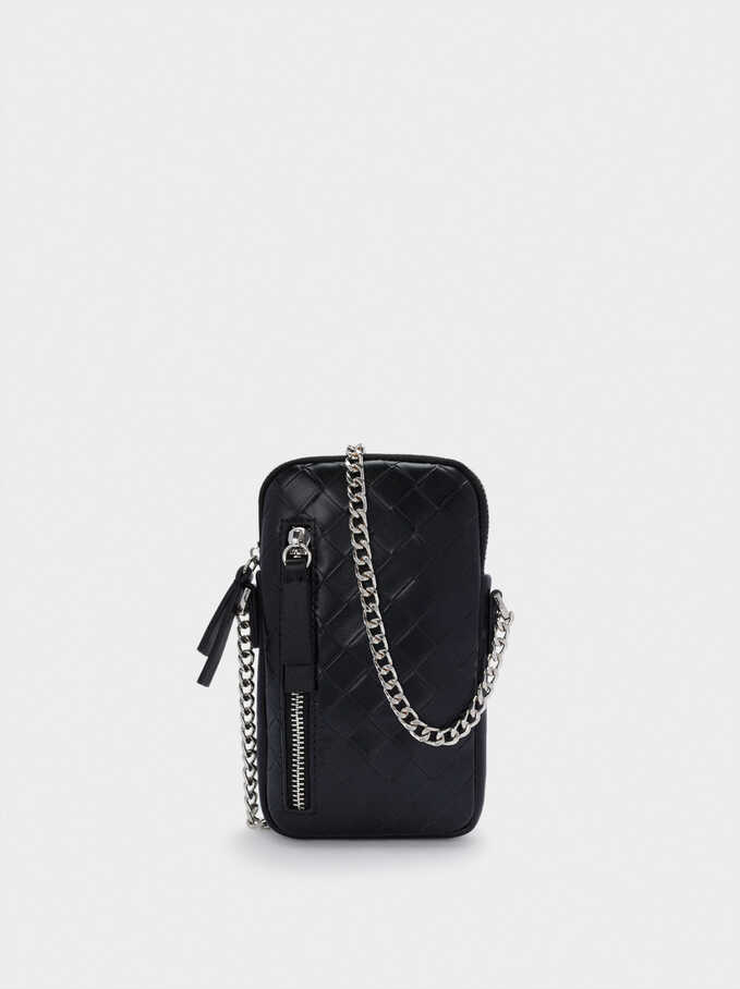 Braided Phone Case With Chain Handle, Black, hi-res