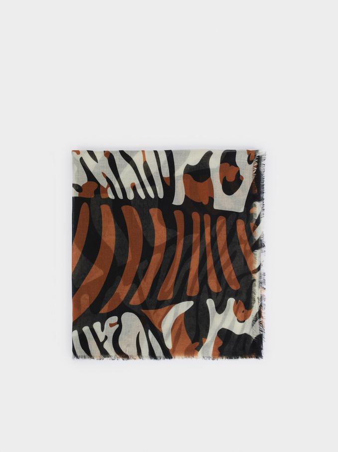 Foulard Imprimé Animal, Noir, hi-res