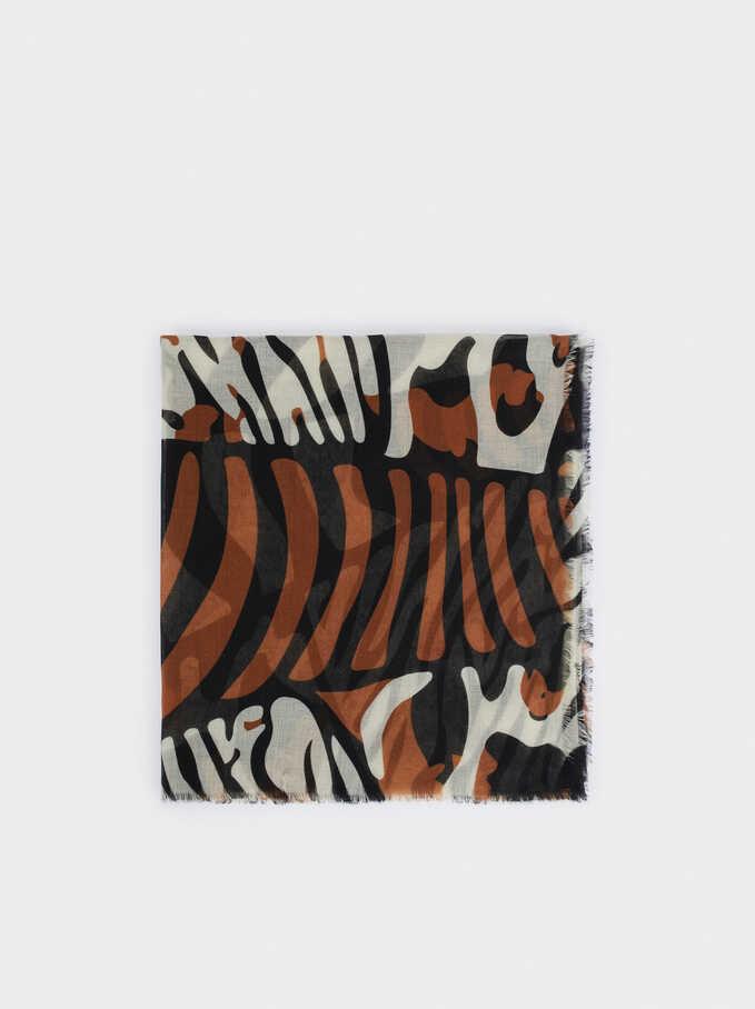 Animal Print Square Scarve, Black, hi-res