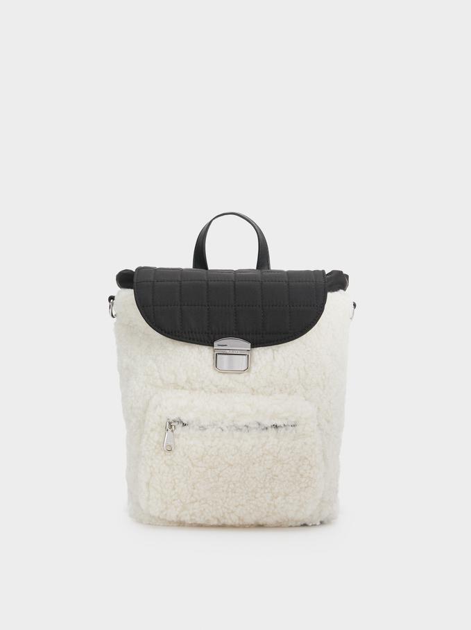 Furry Backpack, White, hi-res