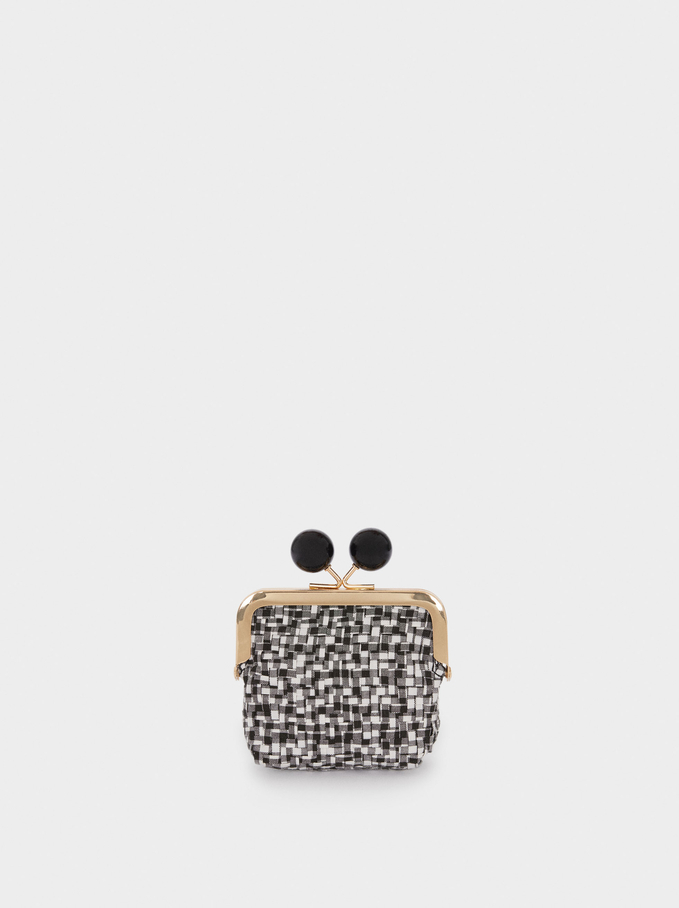 Purse With Clasp Fastening, Black, hi-res