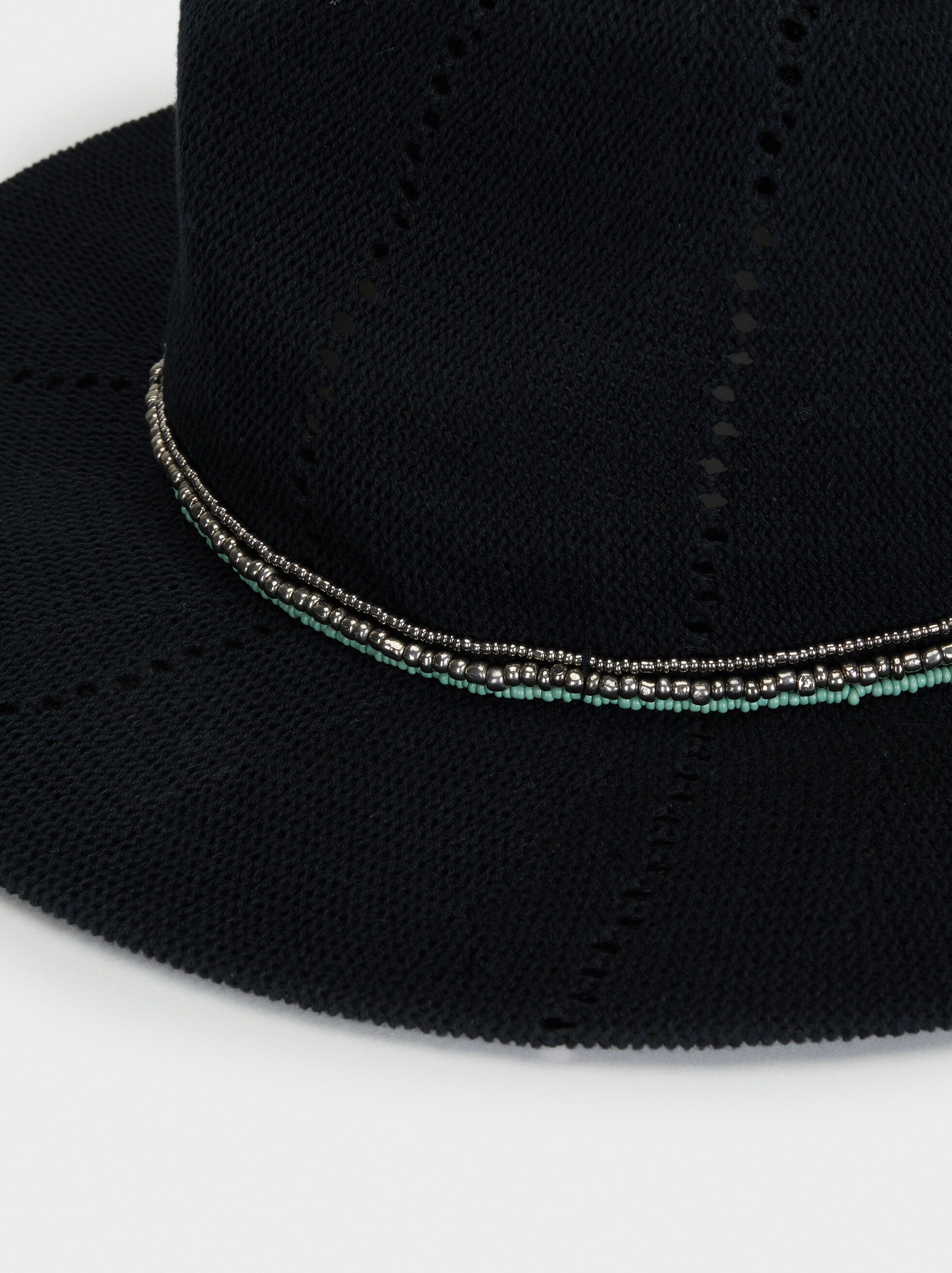 Knitted Hat, Black, hi-res