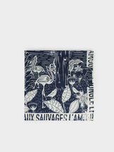Printed Square Scarf, Blue, hi-res