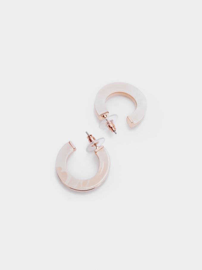 Rose Gold Hoop Earrings , Orange, hi-res