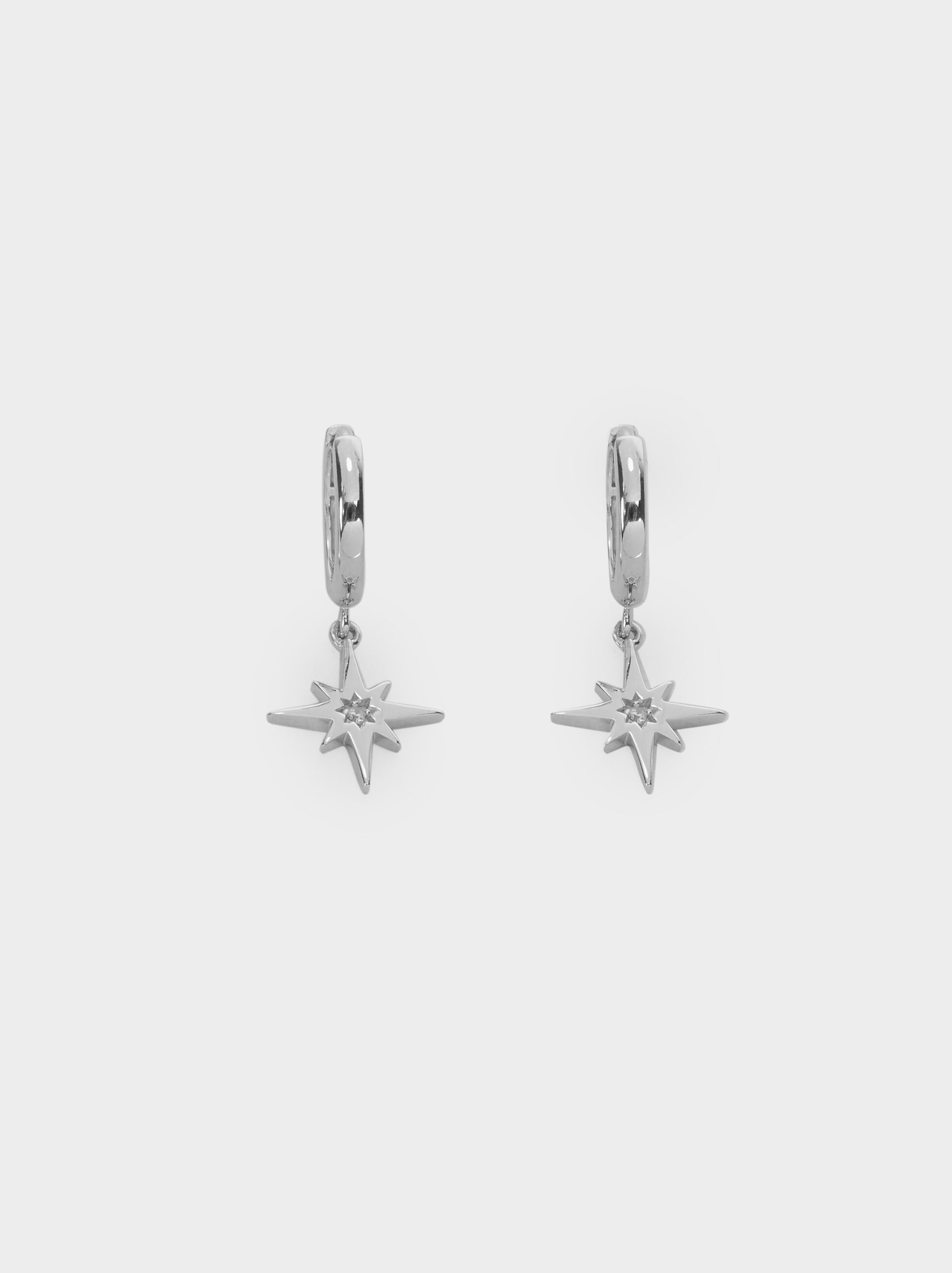 Small 925 Silver Hoop Earrings With Star, Silver, hi-res