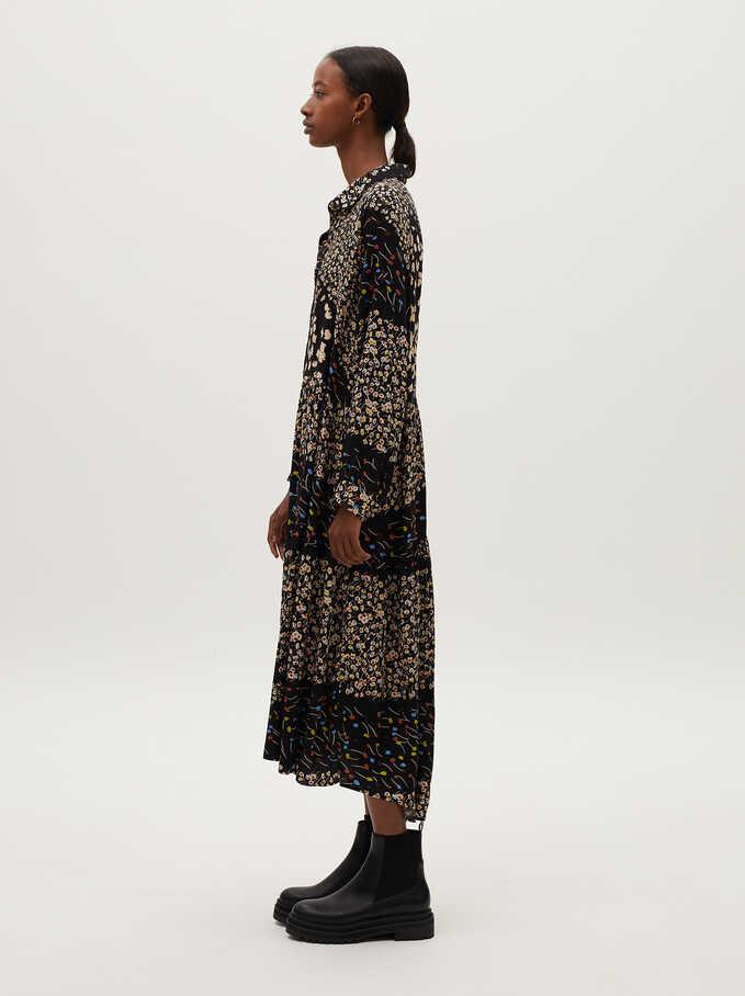Printed Shirt Dress, Black, hi-res