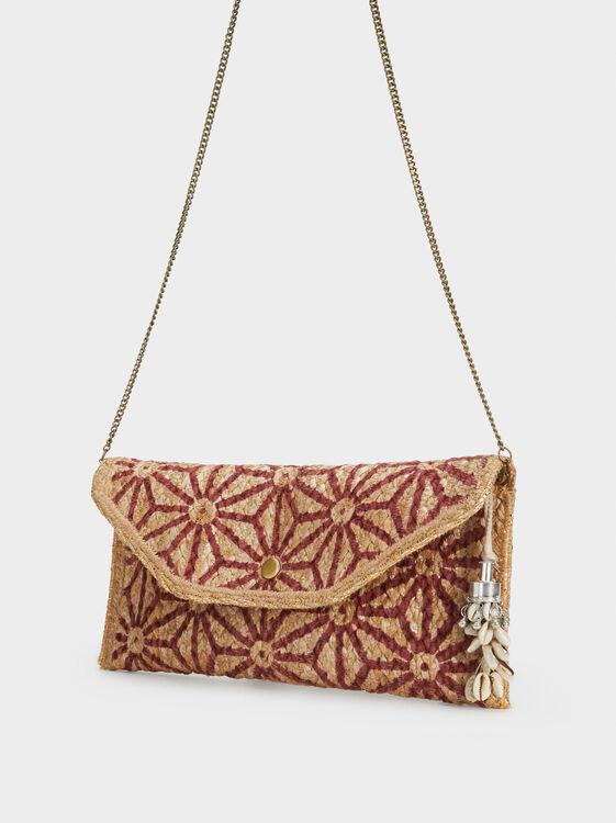 Raffia Effect Handbag, Red, hi-res