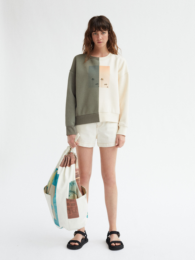 Round Neck Palm Tree Sweatshirt, Khaki, hi-res