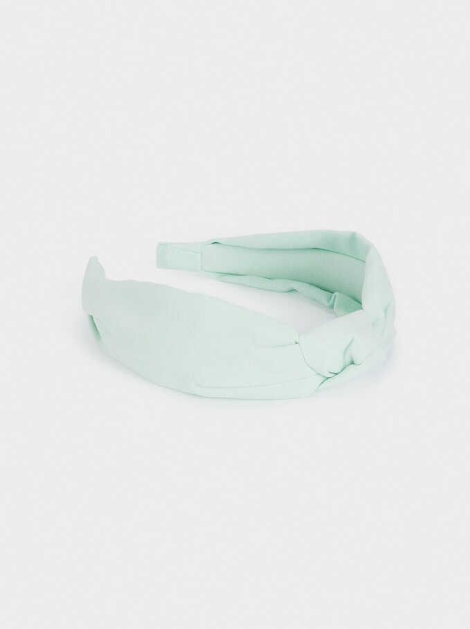 Printed Knot Headband, Green, hi-res
