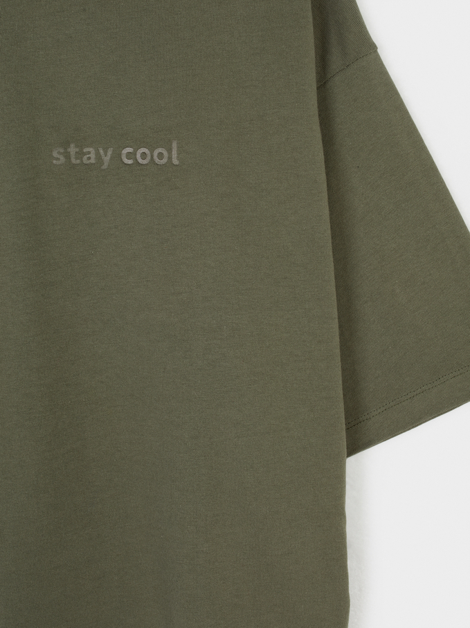 Camiseta Cuello Redondo Stay Cool, Caqui, hi-res