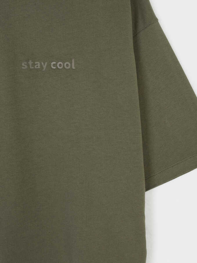 Stay Cool Round Neck T-Shirt, Khaki, hi-res